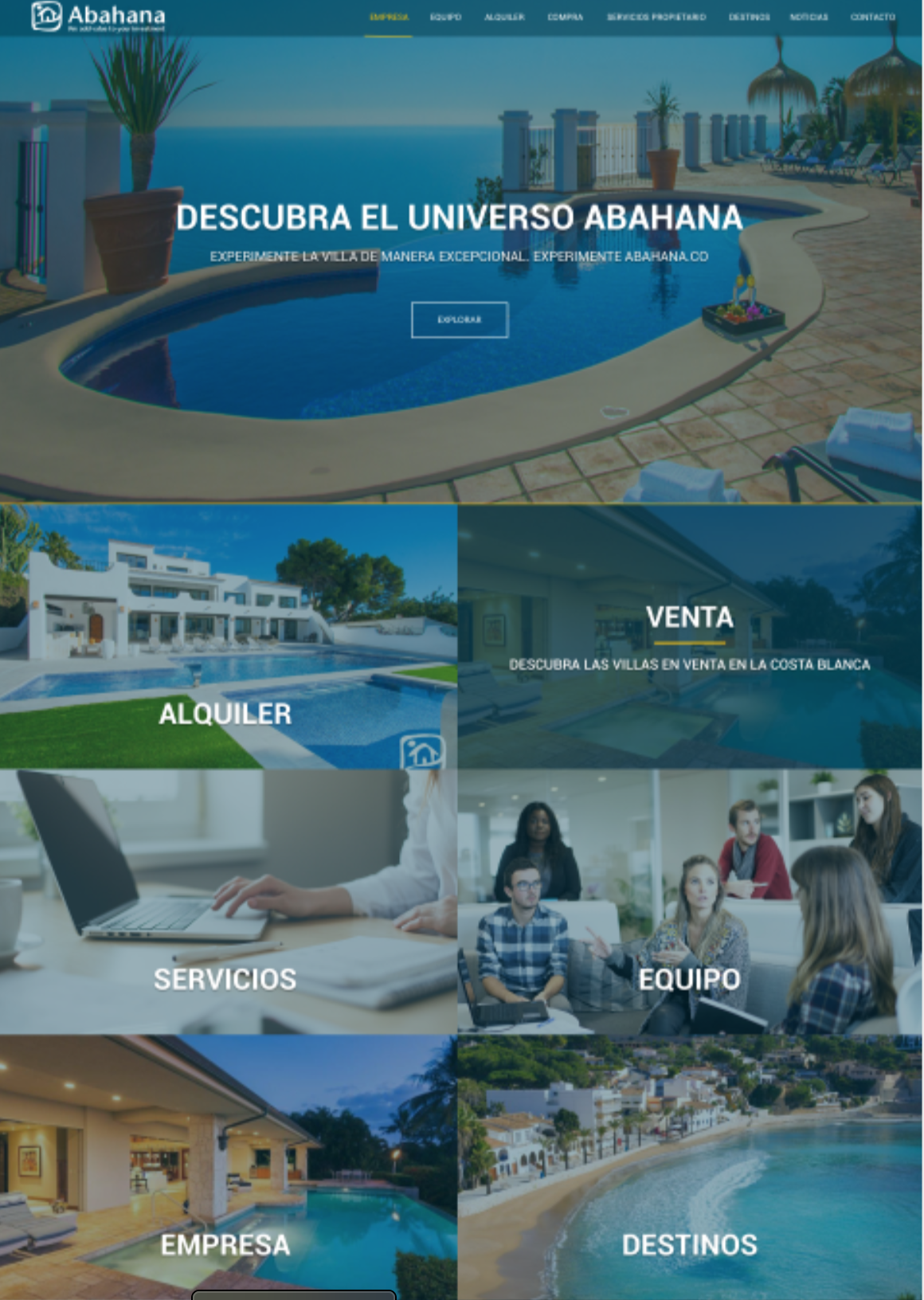 Portal corporativo para Abahana Villas basado en Liferay 7.2